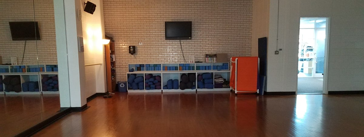 Yoga studio and equipment at Charlotte's YWCA