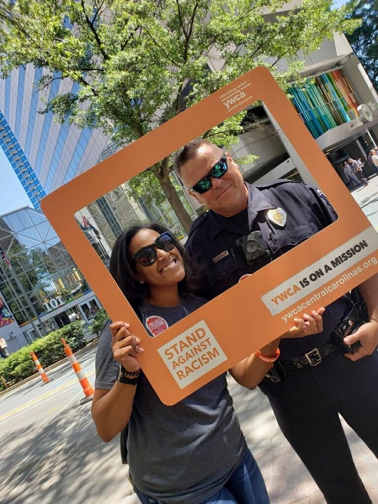 Brittenay Causieestko-Lee and CMPD Officer at YWCA's Stand Against Racism 2019