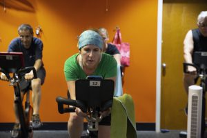 YWCA Fitness Member Heidi in Cycle Class